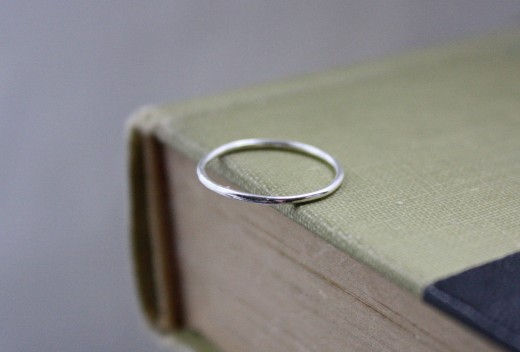 argentium silver skinny stacker ring