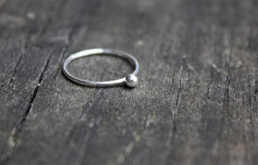 argentium skinny mini pebble ring