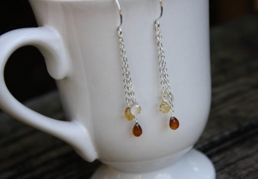 citrine ombre waterfall earrings 1 (2)