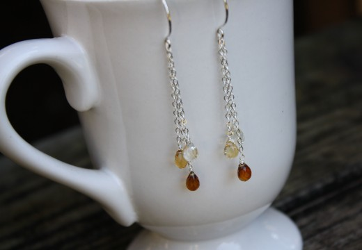 citrine ombre waterfall earrings 1 (2)