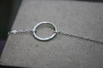 Half Hammered Argentium Circle Necklace