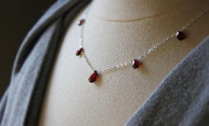 aa garnet drop station necklace sterling silver january birthstone (3)