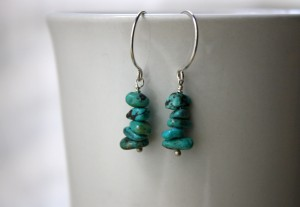 argentium silver turquoise chip earrings