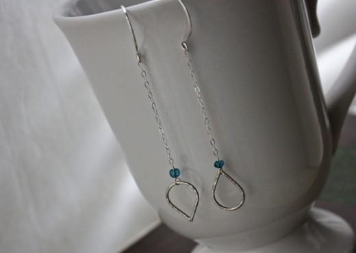 aaa mystic london blue TOPAZ hammered teardrop earrings3