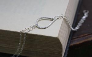argentium silver hammered teardrop bracelet sterling silver chain (10)