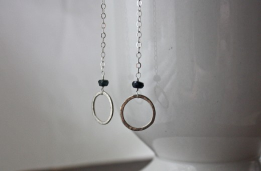 blue sapphire hammered circle drop earrings sterling argentium silver3