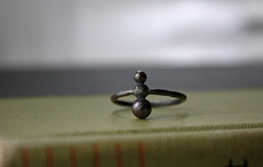 oxidized ant ring hammered black ant ring oxidized argentium silver ring (4)