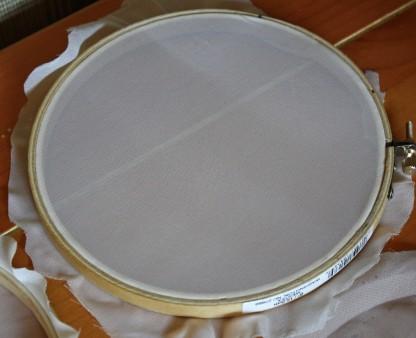 screen chiffon in embroidery hoop