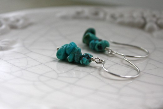 argentium silver turquoise chip earrings 4