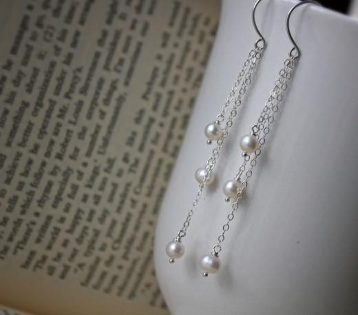 freshwater pearl drop tassel earrings sterling argentium silver