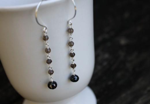 black spinel drop smokey quartz dangle earringsa (18)